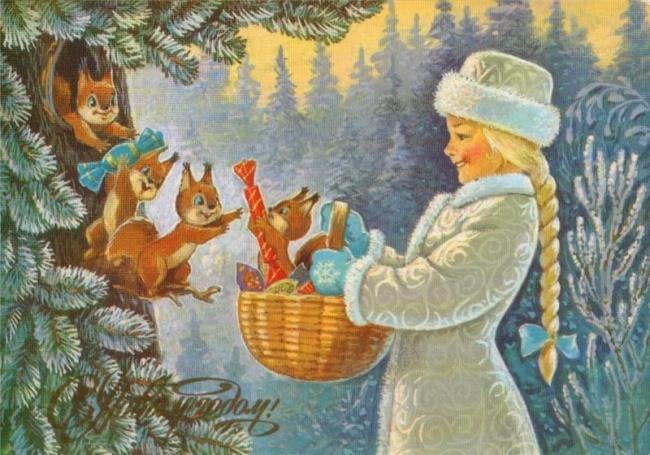 Старые новогодние открытки СССР