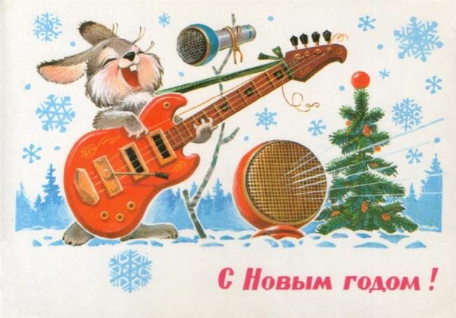 Новогодние открытки СССР с зайцем