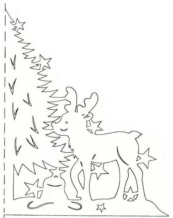 вытынанки олень у елки