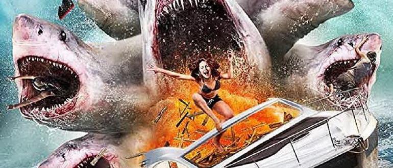 сцена из фильма Нападение шестиглавой акулы (2018)