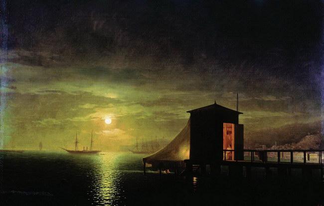 Лунная ночь. Купальня в Феодосии (1853)
