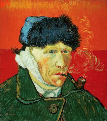 Винсент Ван Гог: произведения Автопортрет с перевязанным ухом и трубкой (1889)