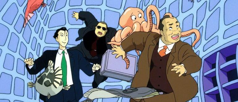 сцена из аниме Война Тануки в периоды Хэйсэй и Помпоко (1994)
